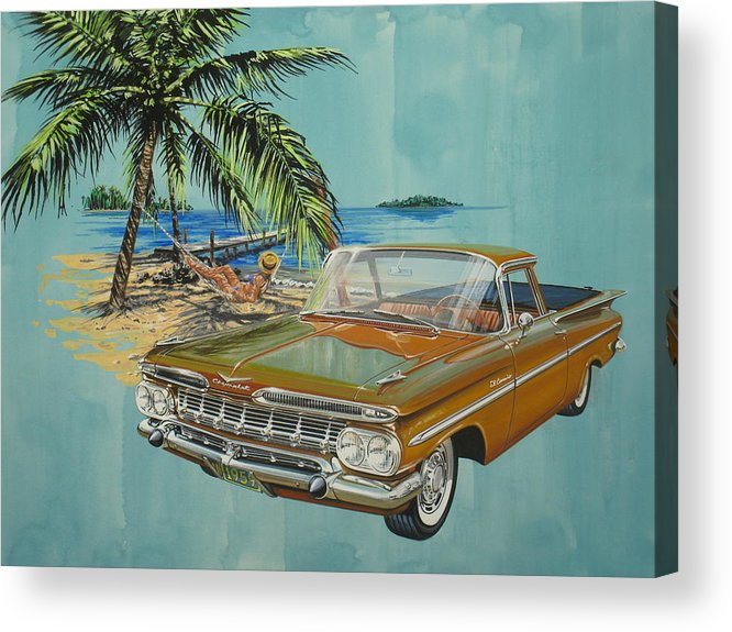 Chevrolet Acrylic Print featuring the painting 1959 Chevrolet El Camino by Jonathan Reed