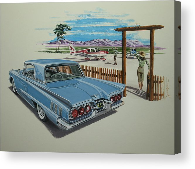 Ford Acrylic Print featuring the painting 1960 Ford Thunderbird by Jonathan Reed