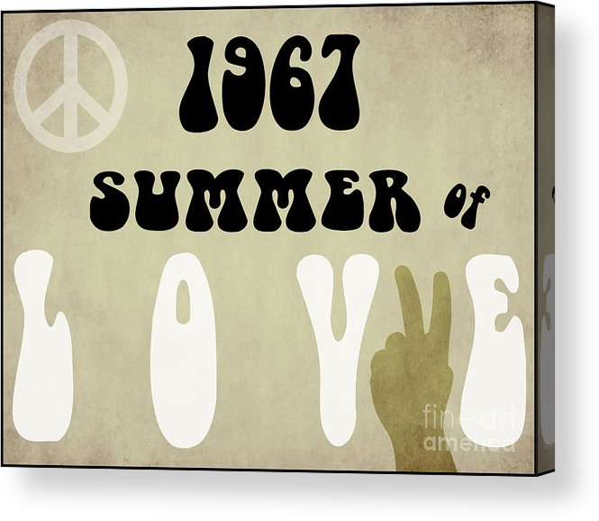 1967 Summer Of Love Acrylic Print featuring the painting 1967 Summer Of Love Newspaper by Mindy Sommers