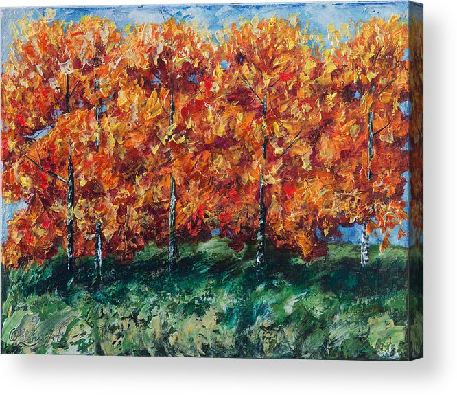 Flowers Acrylic Print featuring the painting Aspen Grove by OLena Art Lena Owens