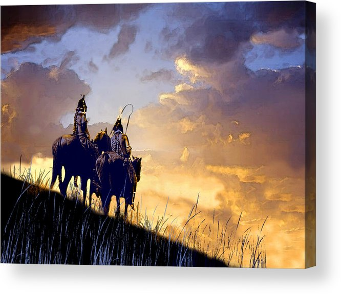 Native Americans Acrylic Print featuring the painting Going Home by Paul Sachtleben