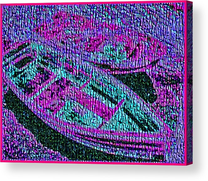 Nautical Acrylic Print featuring the painting 29a Green Purple Rowboats by Ed Immar