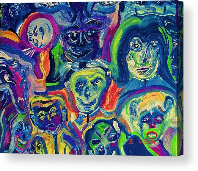 Man Acrylic Print featuring the painting Faces Of Man by Michael Braun