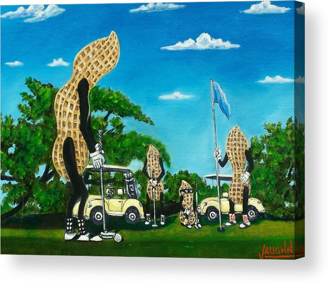 Landscape Acrylic Print featuring the painting Nutz Bout Golf by Charles Vaughn