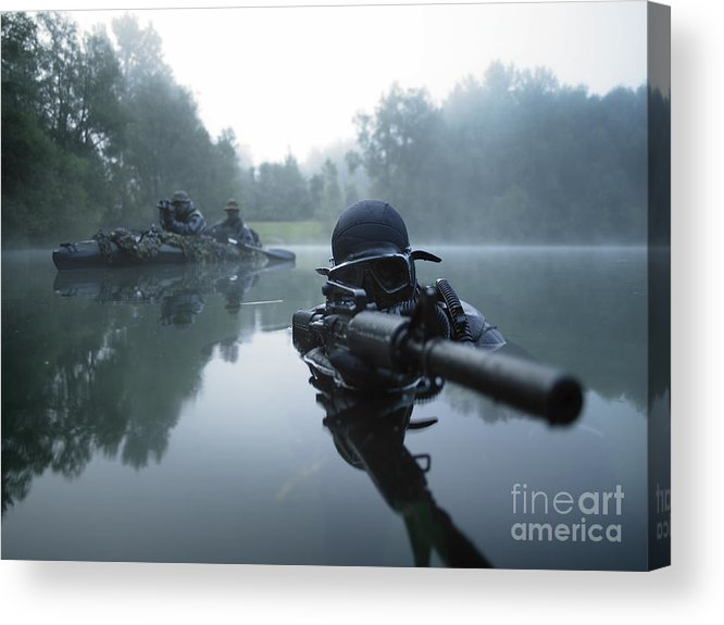 Special Operations Forces Acrylic Print featuring the photograph Special Operations Forces Combat Diver by Tom Weber