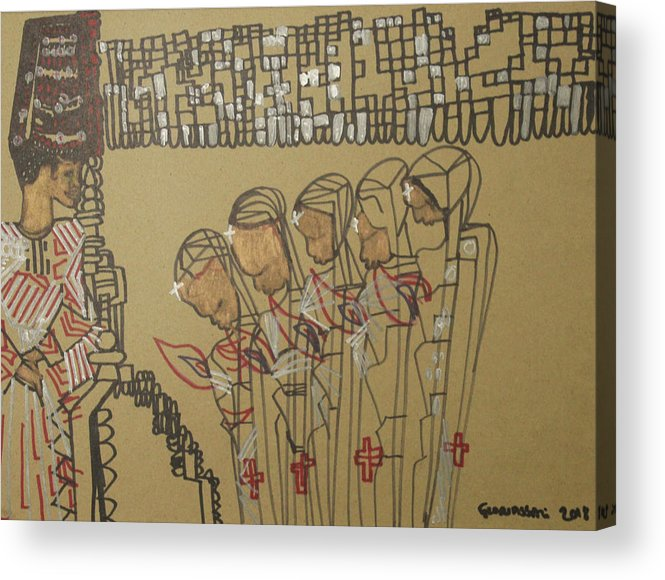 Jesus Acrylic Print featuring the painting Five Wise Virgins by Gloria Ssali
