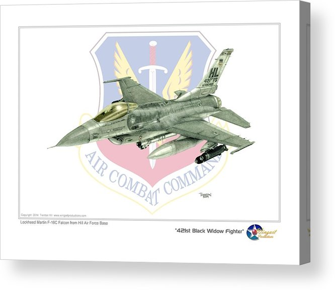 Aviation Acrylic Print featuring the drawing 421st Black Widows by Trenton Hill
