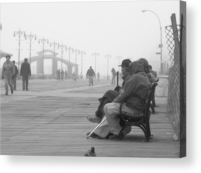 Coney Island Acrylic Print featuring the photograph A Bench At Coney Island by Peter Aiello