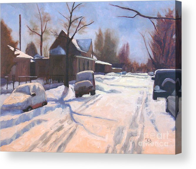 Snow Acrylic Print featuring the painting A Christmas Snow by Tate Hamilton