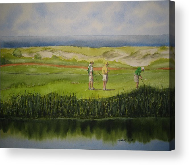 Landscape Acrylic Print featuring the painting A Day At The Beach by Shirley Braithwaite Hunt