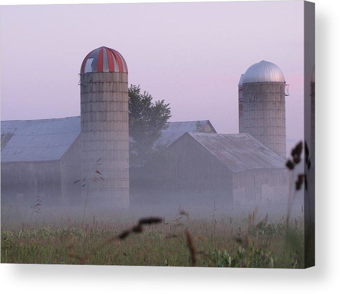 Architecture Acrylic Print featuring the photograph A Misty Evening Farm by Johanne Hammond