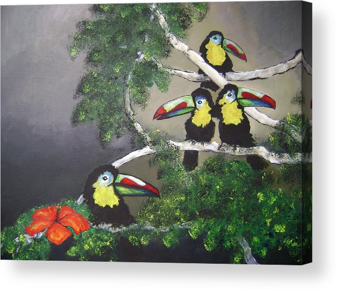 Birds Acrylic Print featuring the painting A New Day by Laura Johnson