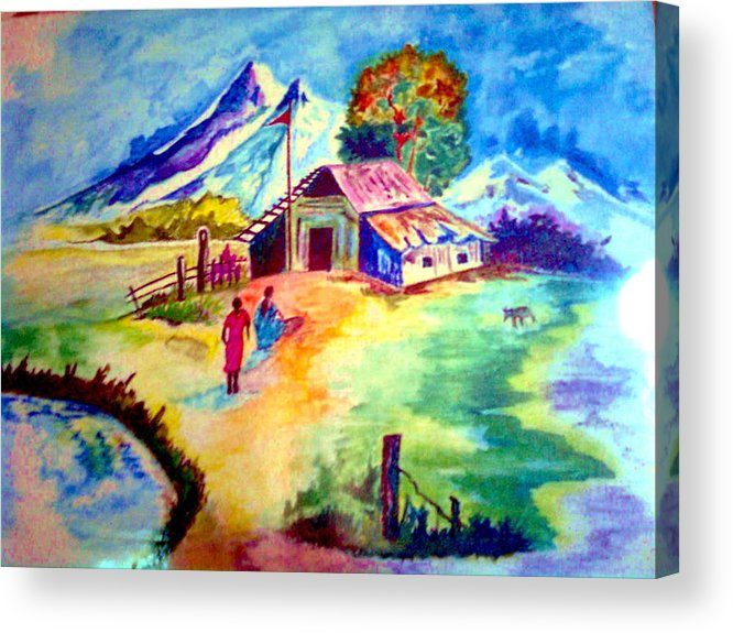 Acrylic Print featuring the painting A Peaceful World...far From The Maddening Crowd by Rashika Bordoloi