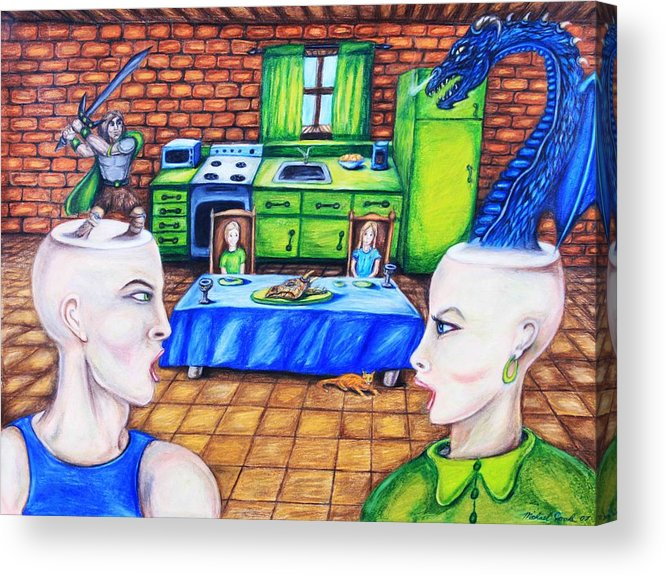 Dragons Medieval Surreal Fantasy Acrylic Print featuring the drawing A Royal Dispute by Michael Cook