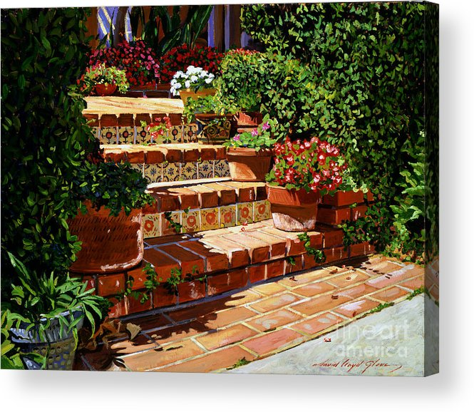 Patio Acrylic Print featuring the painting A Spanish Garden by David Lloyd Glover