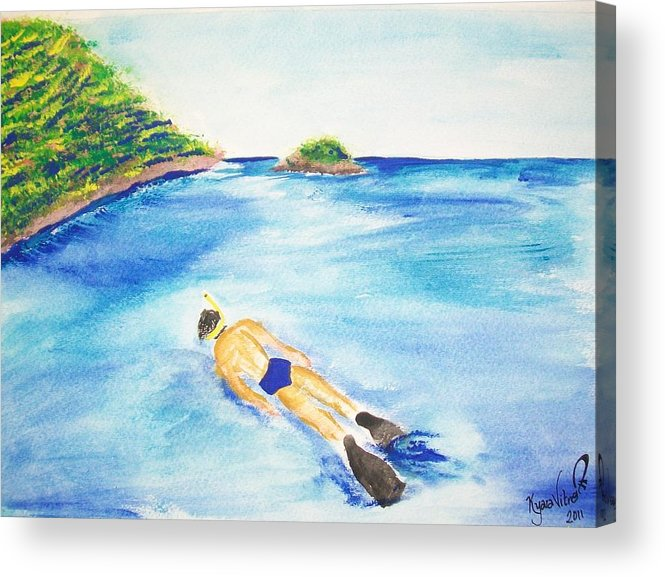 Ocean Acrylic Print featuring the mixed media A Swim In Cayos by Kyara Vitro