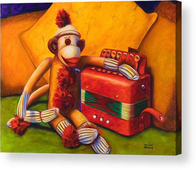 Children Acrylic Print featuring the painting Accordion by Shannon Grissom