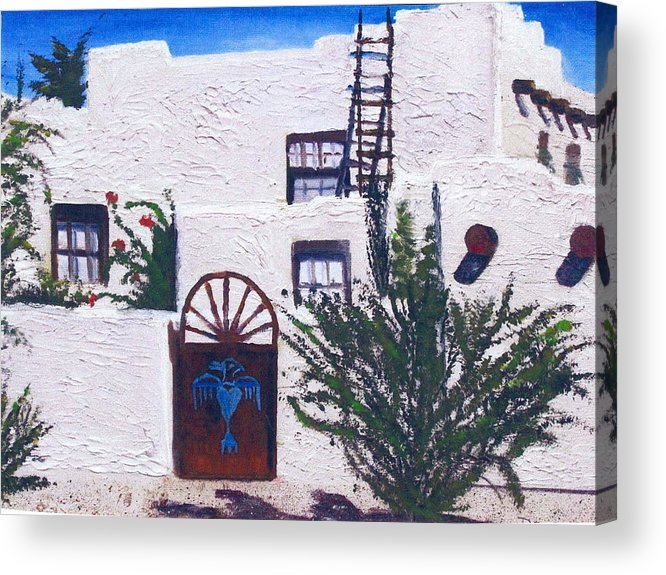 Adobe House Acrylic Print featuring the painting Adobe House by Deena Greenberg