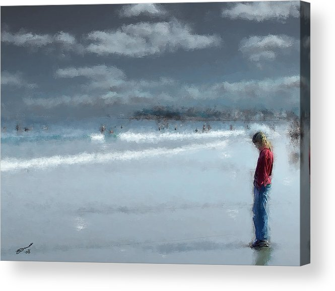 New England Coast Ocean Sea Beach Teen Teenager Adolescen Thinking Acrylic Print featuring the painting Adolescence by Eddie Durrett