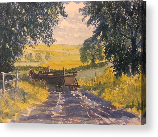 Glenn Marshall Yorkshire Artist Acrylic Print featuring the painting After Rain On The Wolds Way by Glenn Marshall