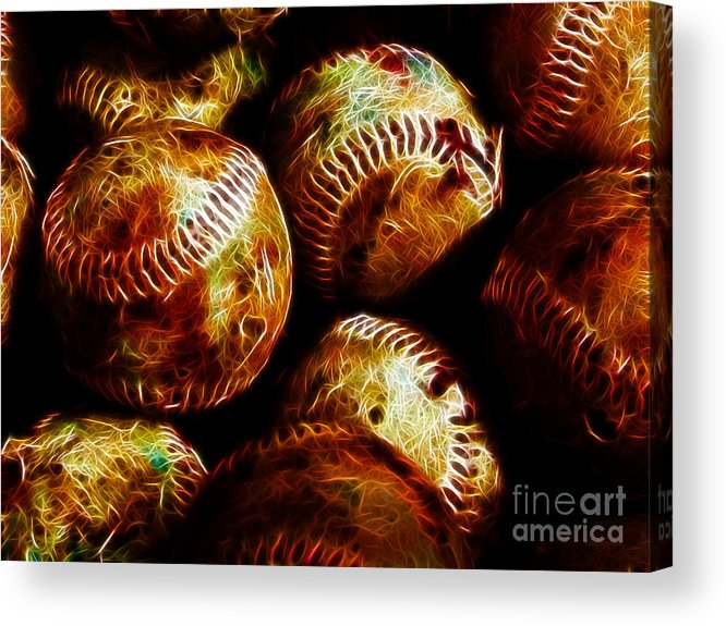 Baseball Acrylic Print featuring the photograph All American Pastime - A Pile Of Fastballs - Electric Art by Wingsdomain Art and Photography