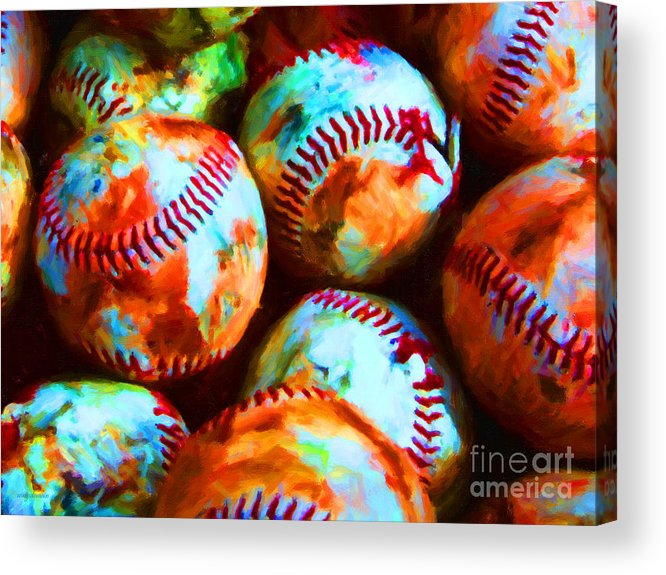 Baseball Acrylic Print featuring the photograph All American Pastime - Pile Of Baseballs - Painterly by Wingsdomain Art and Photography