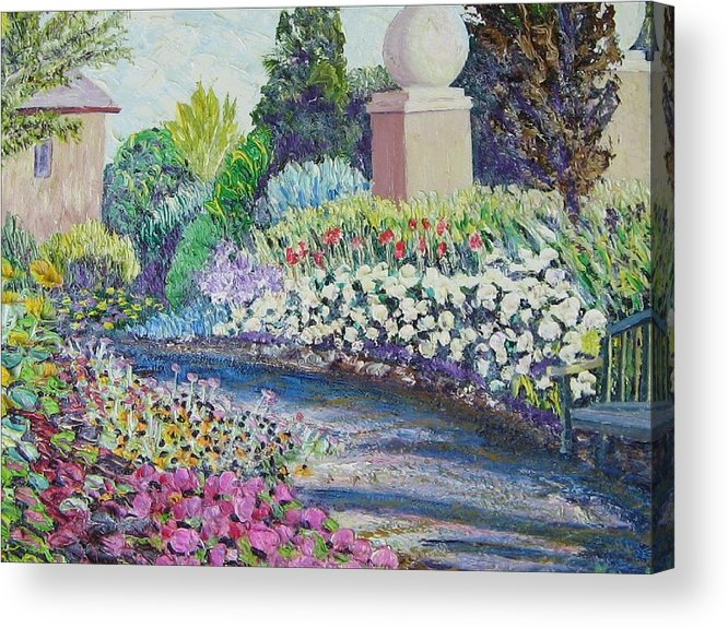 Flowers Acrylic Print featuring the painting Amelia Park Pathway by Richard Nowak