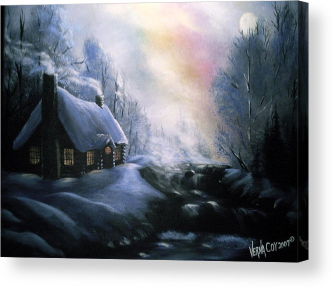 Alaska Alaskan Christmas Winter Cabin Scenery Acrylic Print featuring the painting An Alaskan Night by Verna Coy