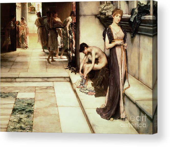 Apodyterium Acrylic Print featuring the painting An Apodyterium by Sir Lawrence Alma-Tadema