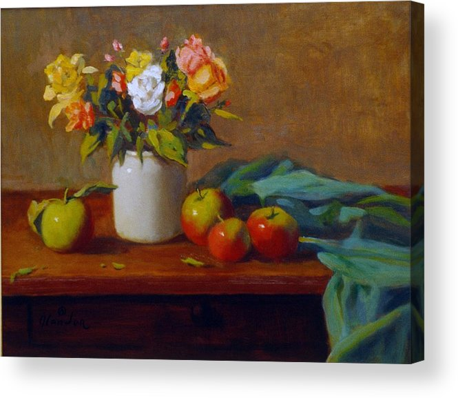 Still Life Alla Prima Acrylic Print featuring the painting Apples And Flowers by David Olander