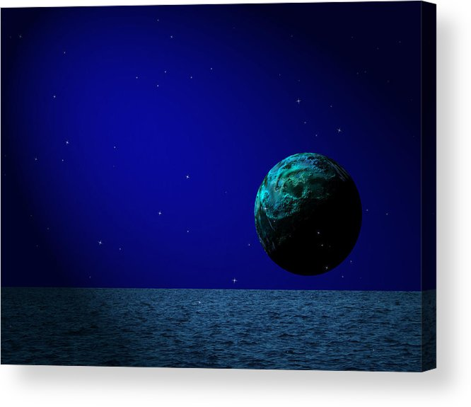Surreal Acrylic Print featuring the digital art Aqua Luna And The Midnight Sun by Juana Maria Garcia-Domenech