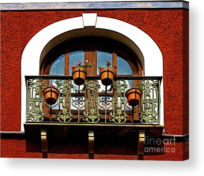 Darian Day Acrylic Print featuring the photograph Arched Window With Flowers by Mexicolors Art Photography