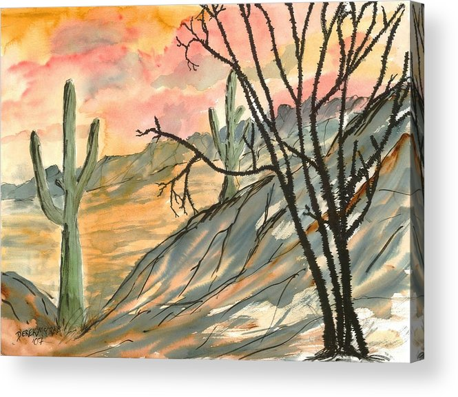 Drawing Acrylic Print featuring the painting Arizona Evening Southwestern Landscape Painting Poster Print by Derek Mccrea
