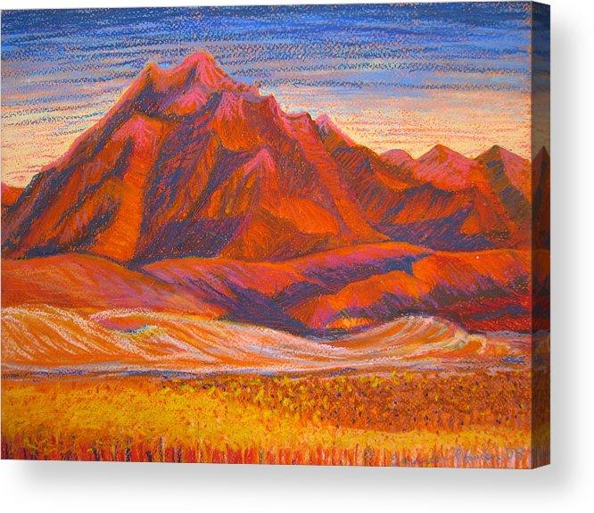 Arizona Acrylic Print featuring the painting Arizona Mountains At Sunset by Art Nomad Sandra Hansen