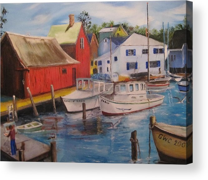 Red Acrylic Print featuring the painting Artist In New England Dock by Gloria Condon