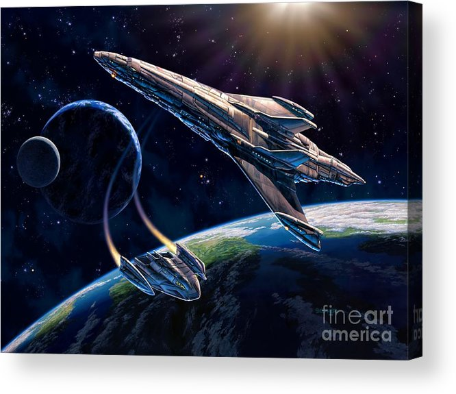 Space Ship Acrylic Print featuring the painting At Corealla by Stu Shepherd
