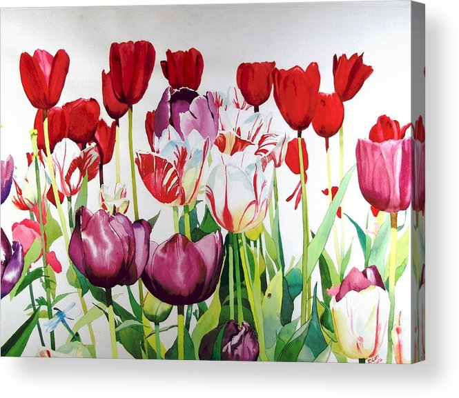 Tulips Acrylic Print featuring the painting Attention by Elizabeth Carr