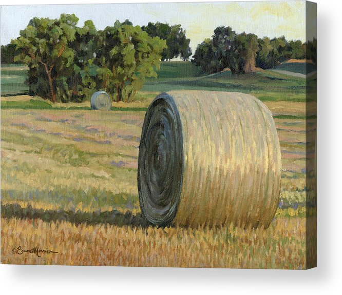 Landscape Acrylic Print featuring the painting August Bales by Bruce Morrison