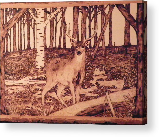 Forest Acrylic Print featuring the pyrography Autumn Deer by Andrew Siecienski