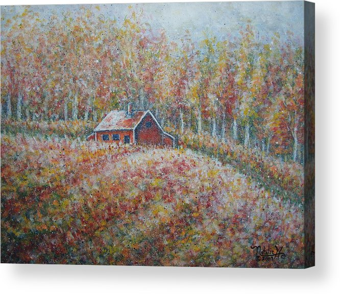 Landscape Acrylic Print featuring the painting Autumn Whisper. by Natalie Holland