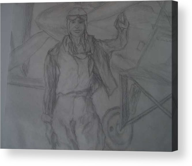 Airplanes Acrylic Print featuring the drawing Aviatrix by Nancy Caccioppo