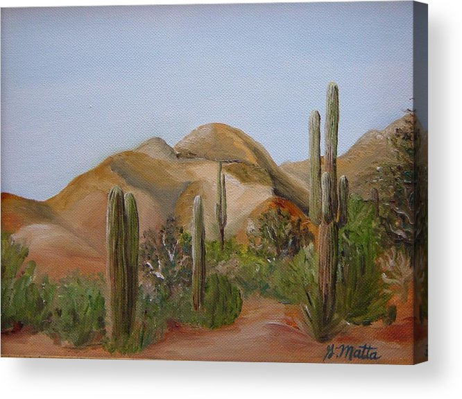 Landscape Acrylic Print featuring the painting Backdoor View by Gretchen Matta