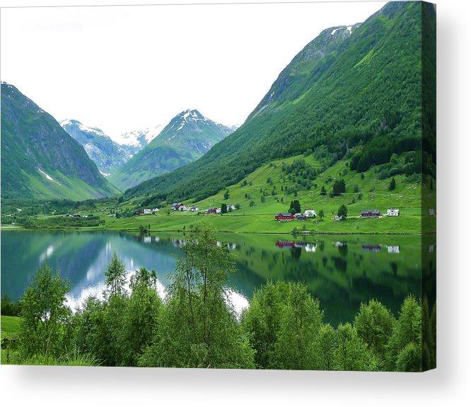 Balestrand Norway Acrylic Print featuring the photograph Balestrand Lake Village by Norma Brandsberg