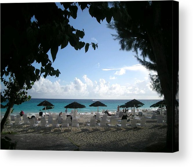 Barbados Acrylic Print featuring the photograph Barbados Umbrellas by Caroline Urbania Naeem