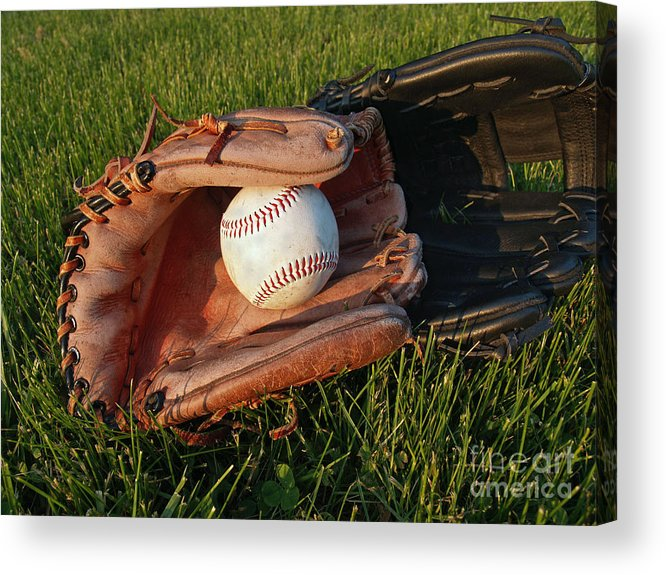 Baseball Acrylic Print featuring the photograph Baseball Gloves After The Game by Anna Lisa Yoder