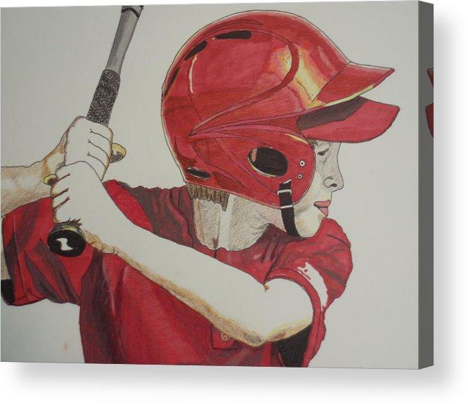 Baseball Acrylic Print featuring the drawing Baseball Ready 2 by Michael Runner