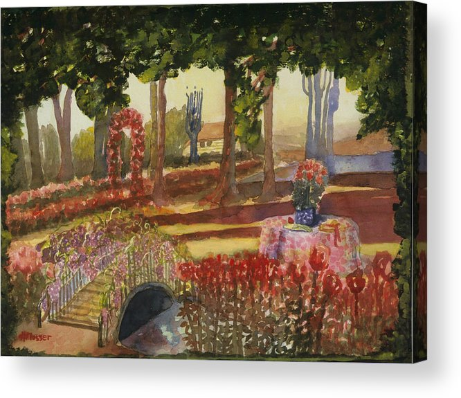 Reds Acrylic Print featuring the painting Basics Sisters by Helen Musser