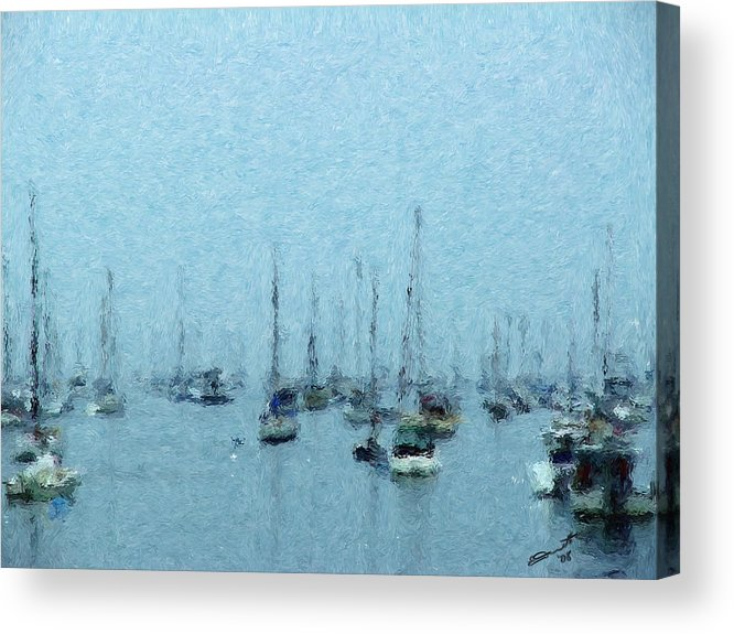 Sail Boats Marblehead Mass Harbor Sailing Anchored Bay Sea Acrylic Print featuring the painting Bateaux Au Repos by Eddie Durrett