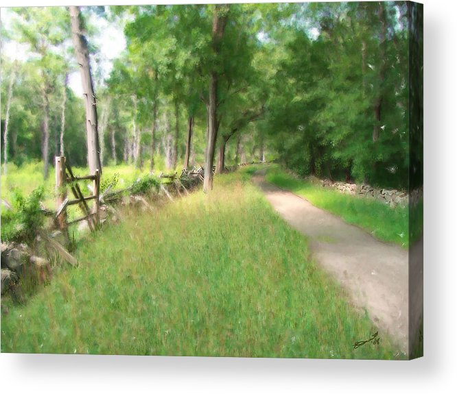Concord American Revolution Bloody Angle British Colonists 1775 Stone Walls Rural New England Acrylic Print featuring the painting Battle Trail by Eddie Durrett
