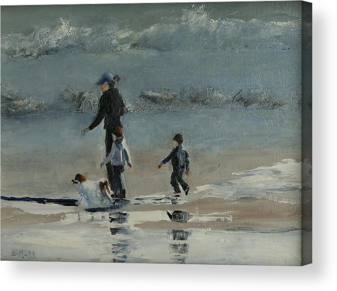 Beach Acrylic Print featuring the painting Beach Outing by Helene Mohn